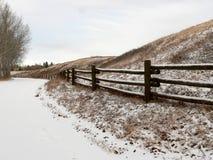 Snowy Lane. Park lane after snowfall. Fish Creek Park, Calgary, Alberta, Canada Stock Images