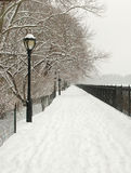 Snowy Lane, Central Park, New York USA. Snow Storm, Central Park, New York City, Jackie Kennedy Onasis resevoir, Jan 2011 Royalty Free Stock Image