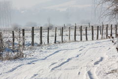 Snowy lane and fence Royalty Free Stock Photos