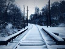 Snowy-Laufkatze-Spur Stockfotografie
