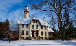 Snowy-Leuchtturm Stockfotografie