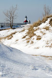 Snowy light house in michigan Royalty Free Stock Photography