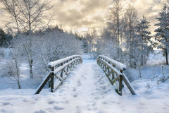Snowy little bridge 2 Royalty Free Stock Photo