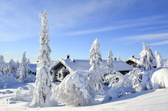 Snowy log cabin in Lapland Finland Stock Photography