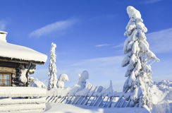 Snowy log cabin in Lapland Finland. Cottage on snowy mountain on a sunny cold winter day in Lapland Finland. Cottages and spruce trees are covered by heavy snow Royalty Free Stock Image