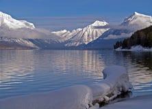 Snowy Log, Lake And Mountains Royalty Free Stock Photos