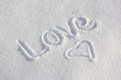 Snowy Love You. Love You written in the snow during winter Royalty Free Stock Photo