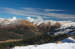 Snowy Loveland Pass. Loveland Pass; The Continental Divide, Just outside of Denver, Colorado stock photo