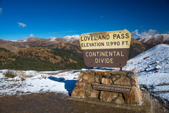 Snowy Loveland Pass. Loveland Pass; The Continental Divide, Just outside of Denver, Colorado royalty free stock photo