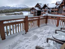 Snowy luxury hotel scene Royalty Free Stock Photo