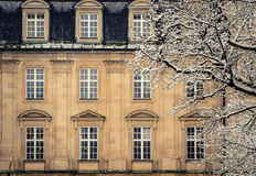 Snowy Luxury Mansion House Royalty Free Stock Images