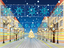 Snowy Main Street. Snowy urban background for your christmas greeting Royalty Free Stock Photography