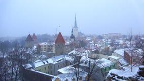 Snowy March day over old Tallinn. Estonia. Snowy March day over old Tallinn, Estonia stock video footage