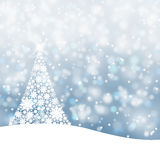 Snowy X-mas tree background. Snowy soft blue background illustration with snowflake Christmas tree and sparkle stock illustration