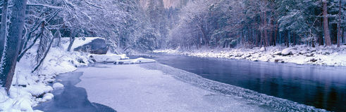 Snowy Merced River in Yosemite. California stock photos