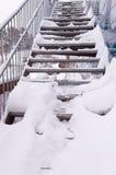 Snowy metal stairs Stock Photos