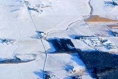 Snowy Midwest landscape. Aerial winter view of a Minnesota landscape royalty free stock photo