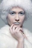 Snowy model in white fur Stock Photo