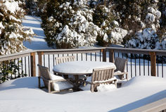 Snowy modern deck Stock Photography