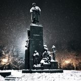 Snowy monument Royalty Free Stock Images