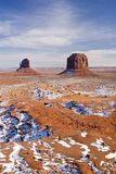 Snowy Monument Valley. Monument Valley Navajo Tribal Park, Utah royalty free stock photo