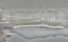 Snowy-Morgen im Central Park Stockfoto