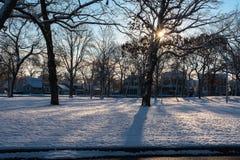 Snowy-Morning im Frühjahr See Lizenzfreie Stockfotografie