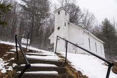 Snowy Morning - Mt. Zion United Methodist Church - West Virginia. A snowy morning at the closed Mt. Zion United Methodist Church in the Appalachian Mountains of Royalty Free Stock Photography