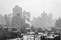 Snowy morning from a rooftop in NYC Stock Photos
