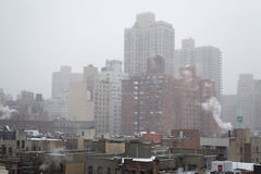 Snowy morning from a rooftop in NYC. Winter blizzar from a rooftop in Manhattans Upper East SIde (NYC, USA Royalty Free Stock Photography