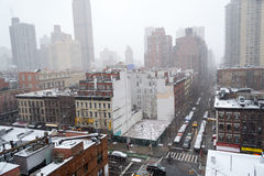 Snowy morning from a rooftop in NYC Stock Photography