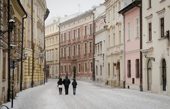 Snowy morning in Krakow royalty free stock photos