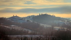 Snowy morning in the vineyard. Snow and ice in the vineyard of Friuli, Italy royalty free stock photography