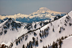 Snowy Mount Saint Adams and Ridge Lines Royalty Free Stock Photo