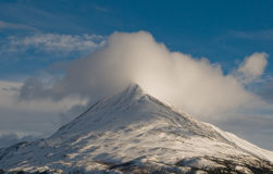 Snowy mountain. This photo shows Gaustadtoppen in Norway, taken from Krosso banen in Rjukan Stock Photo