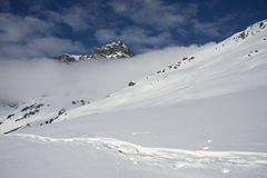 Snowy mountain in the Alps Royalty Free Stock Photo