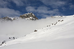 Snowy mountain in the Alps Royalty Free Stock Photos