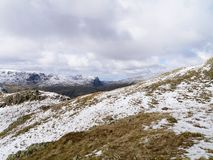 Snowy mountain area. Snowy Rosthwaite Fell, looking over to Fleetwith Pike Royalty Free Stock Photo