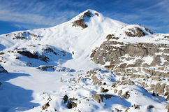 Snowy mountain Arles in the winter Pyrenees Royalty Free Stock Photo