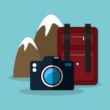 Snowy mountain baggage photo camera. Illustration eps 10 Royalty Free Stock Photo