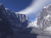 Snowy Mountain Canyon. Digital render of a snowy mountain canyon stock illustration