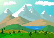 Snowy mountain cartoon background Stock Image