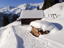 Snowy mountain chalet Stock Photography