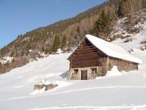 Snowy mountain chalet Stock Photo