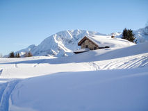 Snowy mountain chalet in wood Royalty Free Stock Photo