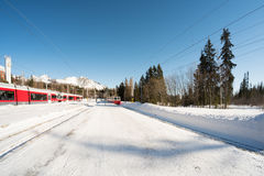 Snowy mountain cog railway station Royalty Free Stock Image