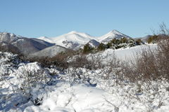 Snowy mountain in Donezan, Pyrenees stock photography