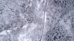 Snowy Mountain Forest. Winter Aerial Shot Of Snowy Mountain Forest  With Roads High Attitude Royalty Free Stock Image