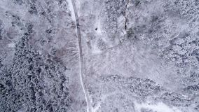 Snowy Mountain Forest. Winter Aerial Shot Of Snowy Mountain Forest  With Roads High Attitude Royalty Free Stock Photos