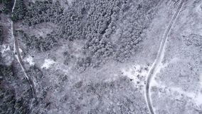 Snowy Mountain Forest. Winter Aerial Shot Of Snowy Mountain Forest  With Roads High Attitude Stock Photography